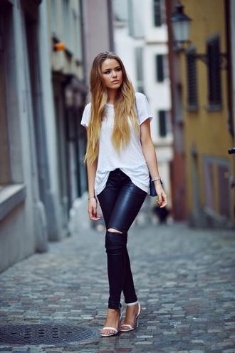 heels white tee classy sophisticated kayture