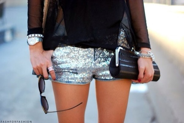 shorts silver shorts clutch black clutch Sequin shorts sequins