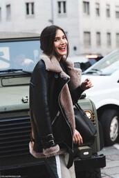 coat,shearling jacket,fur coat,fur,black,pink