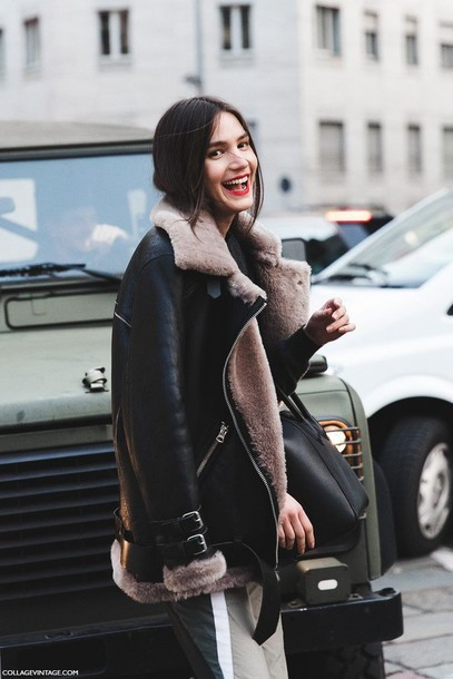 coat shearling jacket fur coat fur black pink