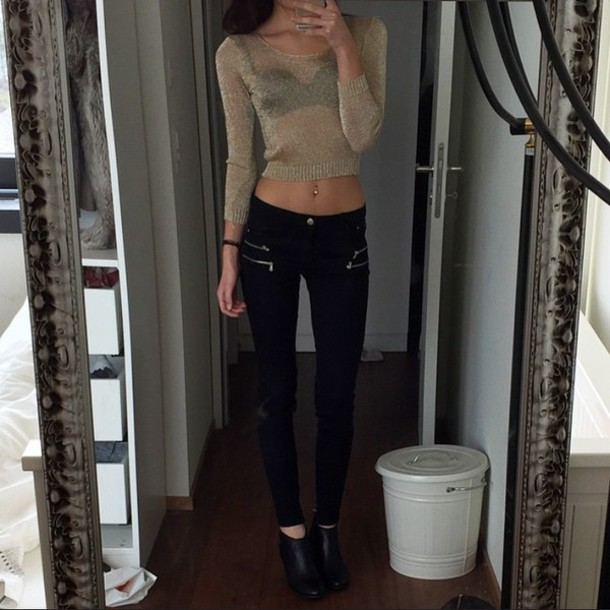 Pants: black, black jeans, cool, style, girly, tumblr outfit ...