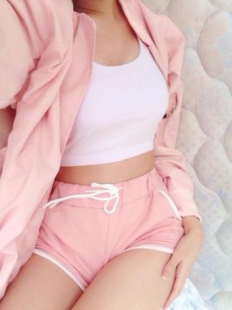 jacket pink short shorts white crop tops shorts clothes pink shorts hipster pastel pastel pink and white white and pink sleeping wear light pink pastel pink workout