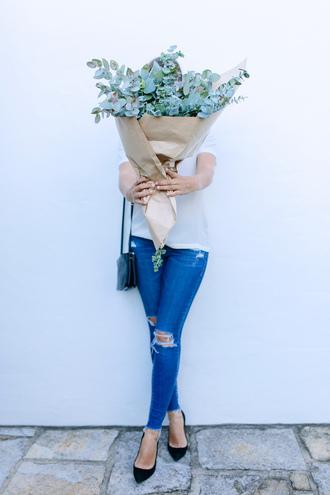 jeans tumblr denim blue jeans skinny jeans ripped jeans flowers top white top pumps pointed toe pumps high heel pumps black heels bag black bag
