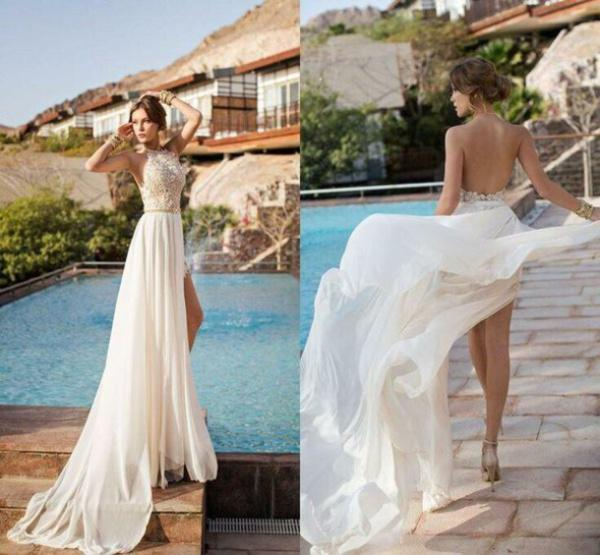 Cheap Vintage Wedding Dresses   Discount Julie Vino Beach Wedding Dresses  Sexy Halter Sleeveless Online With ...