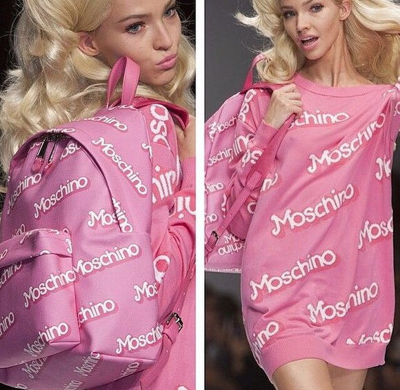 bag backpack back to school moschino pink shirts t-shirt shirt swimwear