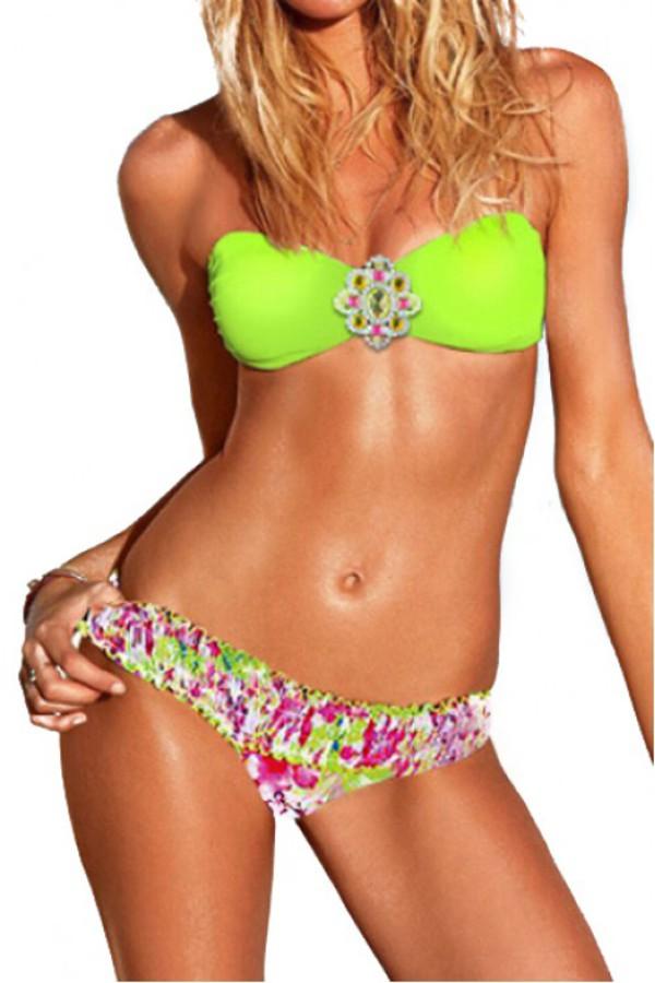 swimwear bikini neon green bikini kcloth bikini