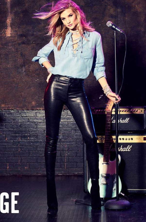shirt, denim shirt, rosie huntington-whiteley, leather ...
