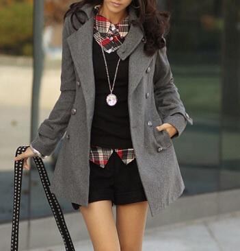 Trendy double breasted wool jacket