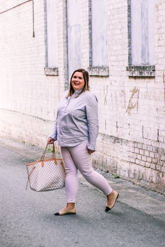 stylishsassy&classy blogger top pants shoes bag curvy tote bag louis vuitton bag ballet flats