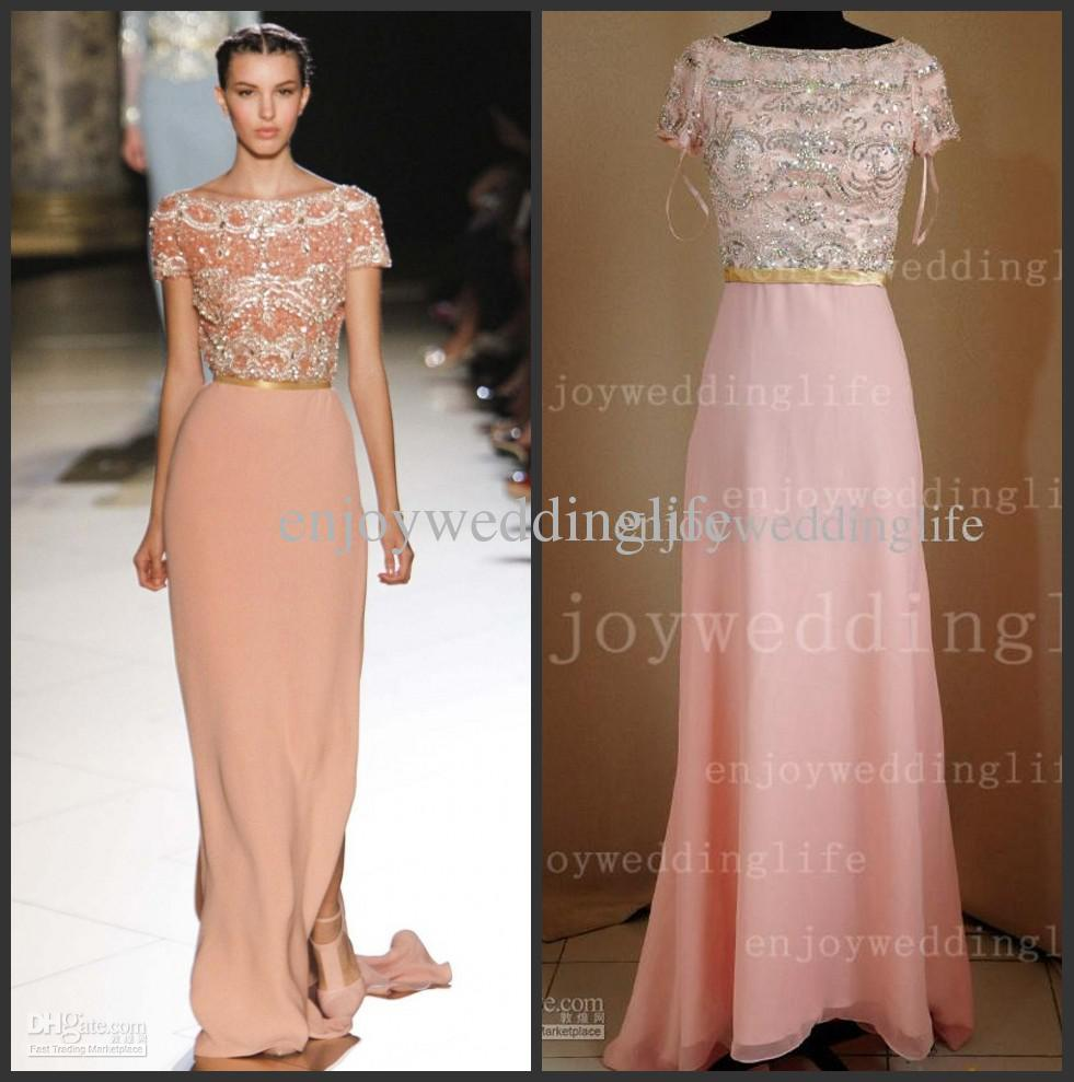 Cheap Prom Dress - Discount Short Sleeves Coral Chiffon Beaded Crystals Bodice Prom Online with $198.36/Piece | DHgate