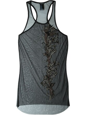 tank top top sheer embellished black