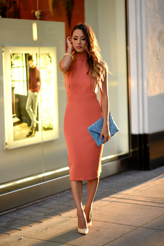 hapa time blogger classy salmon turtleneck dress