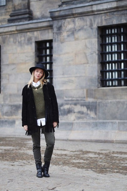 by vh blogger hat winter sweater black coat