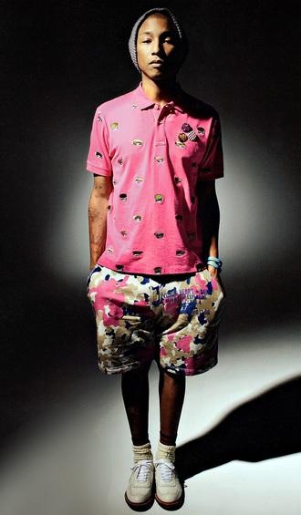 t-shirt pharrell williams celebrity pants menswear mens shorts camouflage