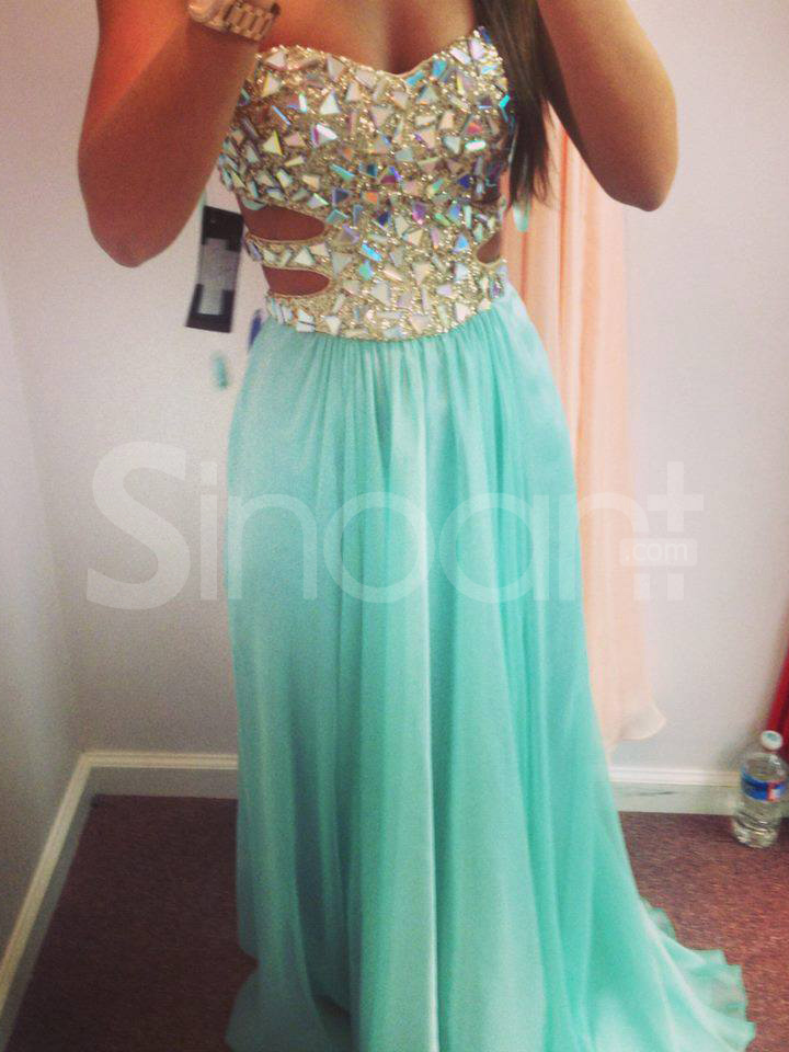 Buy Rhinestoned Turquoise A-line Sweetheart Neckline Floor Length Prom Dress/Graduation Dress under 200-SinoAnt.com