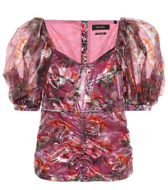 Isabel Marant Floral lamé top in pink