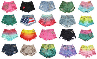 shorts pink light blue dark blue green orange yellow denim denim shorts hipster tumblr instagram ripped shorts jens short bag