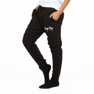 shop dirty pig style black socks comfy comfortable pants pajama pants white logo janoskians lazy outfit