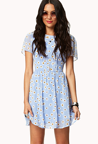 Daisy Print Dress w/ Belt | FOREVER 21 - 2035698282