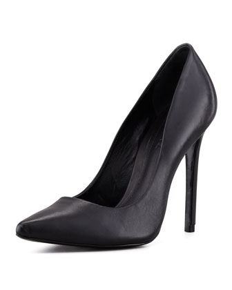 Schutz Gilberta Leather Pump, Black - Neiman Marcus
