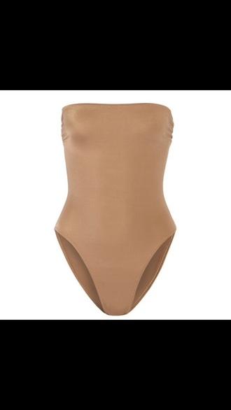 tank top nude bodysuit strapless caramel