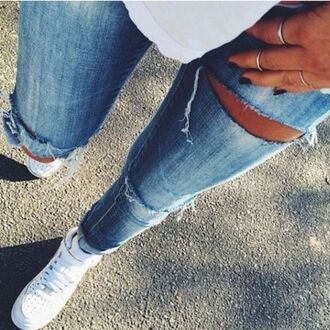 jeans ripped jeans sneakers sneakers high white sneakers white shoes shoes for women