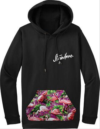 pocket top flamingos hoodie birds pouch script streetwear jumper hooded