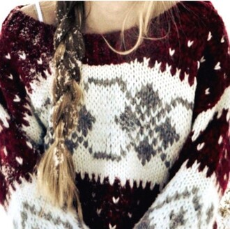 sweater winter outfits clothes oversized sweater cozy winter sweater red and white sweater knitted sweater red white christmas sweater sweatshirt snowflake burgundy sweater long hair deer wellies rain fall outfits fall sweater cute cute sweaters comfy comfysweater comfy tops shirt warm res knit wool