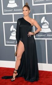 dress,jennifer lopez,black dress,red dress,burgundy,maxi,gown,one leg,one arm,one shoulder dress,slit dress,grammys,j lo,one shoulder dresses,shoes