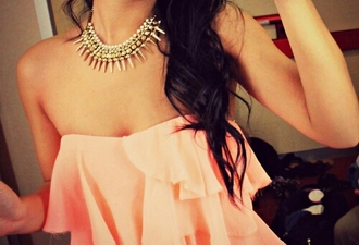 shirt top shiffon tube top pink ruffle brunette gold necklace