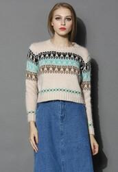 chicwish,cropped sweater,fluffy boho sweater