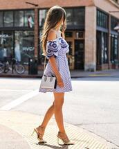 dress,tumblr,mini dress,blue dress,stripes,striped dress,bag,high heels,heels,studded shoes,embroidered,shoes