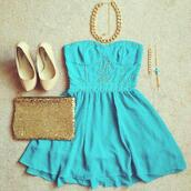 dress,blue,studs,strapless,shoes,bag,jewels,nude high heels