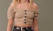 top,Maddie ziegler,brown,cropped,off the shoulder,plaid