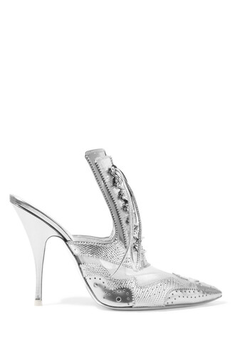 metallic mesh mules leather silver shoes
