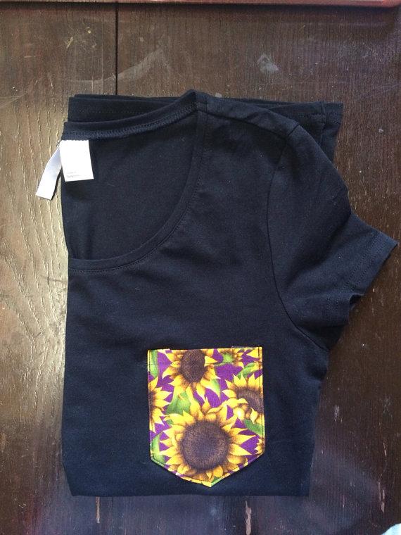 Black women's sunflower pocket t shirt by StudsStripes on Etsy