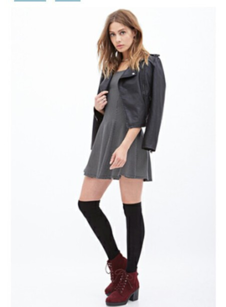 skater dress, leather jacket, knee high socks, boots, ankle