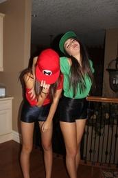 shorts,black,red,green,cap,black shorts,hat,High waisted shorts