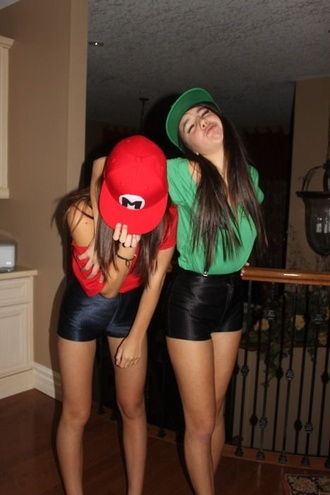pants shorts hat shirt halloween costume green and red snapbacks form mario and luigi halloween mario luigi costume top mario luigi halloween costume high waisted shorts