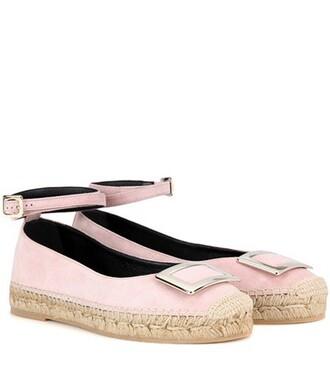 embellished espadrilles suede pink shoes