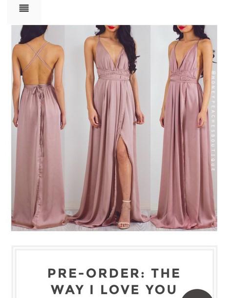 Dress Pink Formal Maxi Long Flowy Light Pink Formal Dress