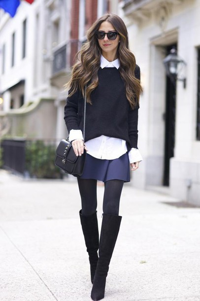 something navy blogger sunglasses white shirt mini skirt navy black boots opaque tights black sweater boots knee high boots black bag