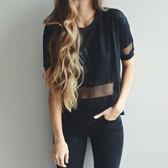 t-shirt black shirt cool swag fabric dark black fashion cropped seethroughshirt top all black  outfit blouse black t-shirt mesh top see through tumblr pretty indie hipster pants all black everything crop tops net sporty transprent black top black shirt