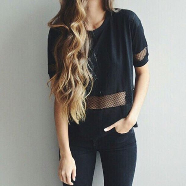 top, all black outfit, t-shirt, black t-shirt, shirt ...