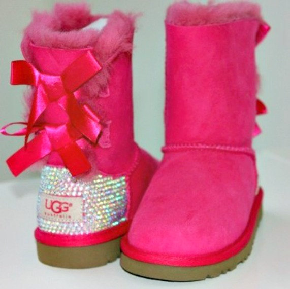 Kids bailey bow uggs with swarovski crystals
