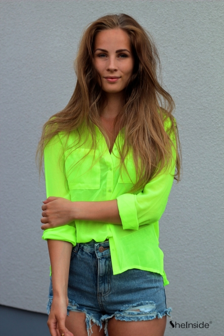 Neon Green Long Sleeve Twin Pockets Front Semi Sheer Blouse - Sheinside.com