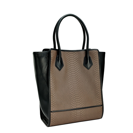 Taupe Julia Shopper Handbag | Embossed Python Leather | GiGi New York