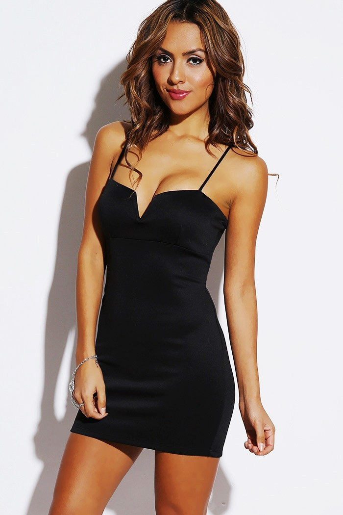 Trendy Cute black v bust fitted clubbing party mini dress for cheap at Dresses shop!