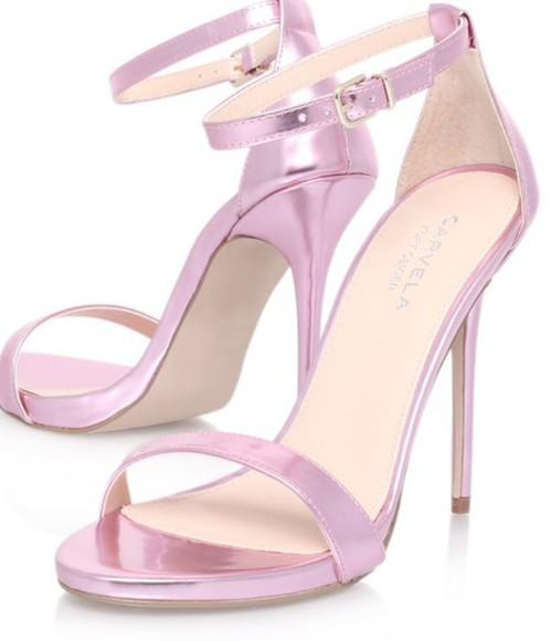 shoes sandals high heels heels pink metallic pink