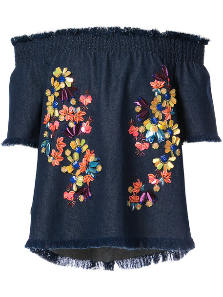 blouse women embellished floral cotton blue top